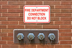 Fire Department Standpipe Connection Stock Photo