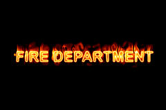 Fire department (Text serie). A fired word/phrase from a text effect serie isolated on a black background Royalty Free Stock Photos