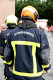 Fire department. Training in france stock image