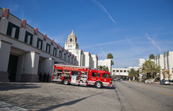 Fire department truck. In Beverly Hills, L.A., California royalty free stock images