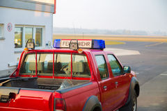 Fire department vehicle on the airfield.  stock image