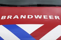 Fire Department vehicle front view Dutch: Brandweer stock photo