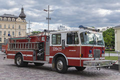 Fire department vehicle. Modern Fire department vehicle in Krakow . Poland Stock Image