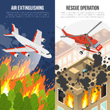 Fire Department Vertical Banners. With air extinguishing and rescue operation from burning building isolated vector illustration Royalty Free Stock Photos