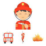 Fire departmentset set collection icons in cartoon style vector symbol stock illustration Royalty Free Stock Image