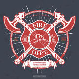 Fire Dept. Label. Helmet with Crossed Axes T-shirt Graphics. Vector Stock Images