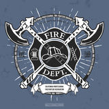 Fire Dept. Label. Helmet with Crossed Axes T-shirt Graphics. Vector Stock Image