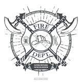 Fire Dept. Label. Helmet with Crossed Axes T-shirt Graphics. Vector. Illustration Royalty Free Stock Photos