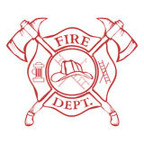 Fire Dept. Label. Helmet with Crossed Axes. Vector Stock Image