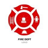 Fire dept logo, red Helmet, Axe Vector Illustration. Fire dept logo, Helmet, Axe Vector Illustration isolated on white background Royalty Free Stock Photography