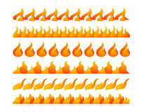 Fire design elements vector set. On white background Stock Photos