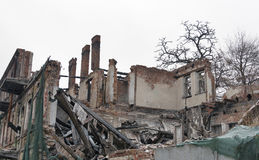 Fire destroyed brick house Royalty Free Stock Photography