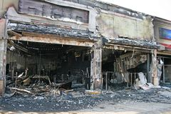 A fire destroyed five stores Royalty Free Stock Image