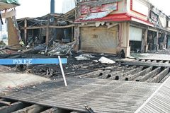 A fire destroyed five stores Royalty Free Stock Photo