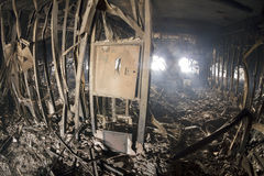 Fire and destruction in the House of Trade Unions on the Maidan Stock Photo