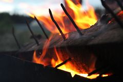Extraordinarily beautiful spectacle of fire stock image