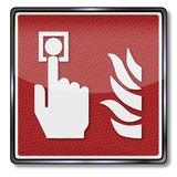 Fire detector and fire alarm. Red fire detector and fire alarm Stock Image