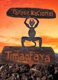 Fire devil, Timanfaya, Lanzarote. Royalty Free Stock Images