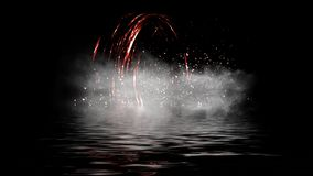 Fire digital Spiral . Embers particle on smoke background. Water reflection on black background royalty free stock images