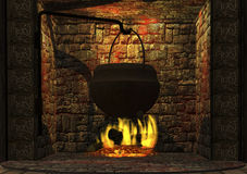 Fire. Digital visualization of a fire place Stock Photos