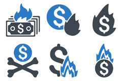 Fire Disaster Flat Glyph Icons. Fire Disaster glyph icons. Icon style is bicolor smooth blue flat symbols with rounded angles on a white background Stock Photo