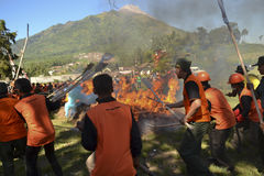 FIRE DISASTER TRAINING. Rescue team new recruits are training to extinguish fire at the northern slope of Merapi Volcano, Boyolali, Java, Indonesia. On dry Royalty Free Stock Photos