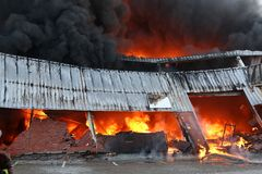 Fire Disaster in Warehouse Stock Images