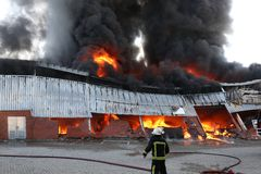 Fire Disaster in Warehouse Royalty Free Stock Photography