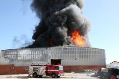 Fire Disaster in Warehouse Royalty Free Stock Image