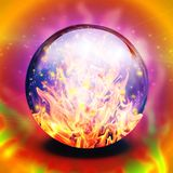 Flaming sphere. Fire in diviners crystal sphere Royalty Free Stock Photo