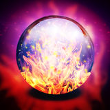 Fire in diviners sphere Royalty Free Stock Photo