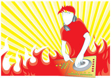 Fire dj. Illustration with red fire dj in the mix Royalty Free Stock Photos