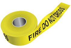 Fire do not cross. Yellow warning tape - do not cross the fire. Vector illustration Royalty Free Stock Photos