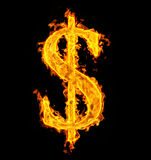 Fire dollar. Fire sign dollar on black Stock Images