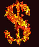 Fire dollar sign. Fire letter dollar sign on black background Royalty Free Stock Images