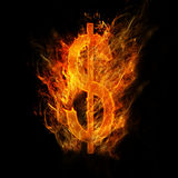 Fire Dollar sign. Dollar sign caught on blazing fire Stock Image