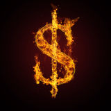 Fire dollar sign. Cool fire dollar sign on dark background Stock Photos