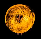 Fire donut in the night Stock Photo