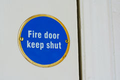 Fire door keep shut sign Royalty Free Stock Photography