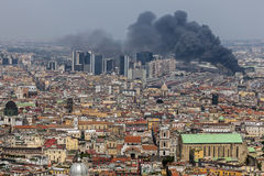 Fire in the downtown of Naples, Italy Royalty Free Stock Photography