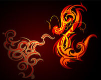 Fire dragon. Fire-breathing decorative dragon shape on black Stock Photo