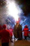Fire Dragon. BARCELONA - JULY 17: Fire dragon and fire devils (carrefoc y diablos) in Festa Major del Raval Festival on July 17, 2011 in Raval, Barcelona, Spain Stock Photography