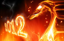 Fire dragon. Abstract fire dragon symbol of 2012 on a dark background royalty free illustration