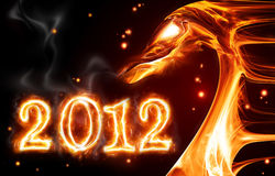 Fire dragon. Abstract fire dragon symbol of 2012 on a dark background stock illustration