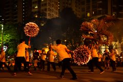 Fire Dragon Dance in Tai Hang royalty free stock images