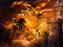 Fire Dragon. Fantasy scene with castle and  dragon attacking black knight Stock Photo