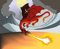Fire Dragon. Flying Dragon breathing out fire, dismal landscape, vector illustration Royalty Free Stock Photography