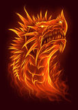 Fire dragon head. Fierce fire dragon portrait. Digital illustration Stock Photography