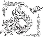Fire Dragon Illustration. Fire Dragon Tattoo Illustration on white background Royalty Free Stock Photo