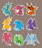 Fire dragon stickers Royalty Free Stock Images